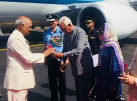 President Ram Nath Kovind arrived here on Wednesday on a two-day visit to Jammu and Kashmir amid heightened security. He was received by Governor NN Vohra and Chief Minister Mehbooba Mufti. He headed straight for the Raj Bhawan from where he is scheduled to leave for the Shri Mata Vaishno Devi University (SMVDU) in Katra town for a convocation. Over 880 scholars will receive their degrees and merit certificates at the ceremony.