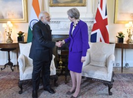 Indian Prime Minister Narendra Modi started his bilateral engagements in Britain on Wednesday with a meeting with his British counterpart Theresa May during the course of which they discussed the bilateral relationship after Britain's exit from the European Union (EU).