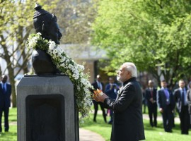 Prime Minister Narendra Modi pays his floral tribute to 12th century Lingayat philosopher and social reformer Bhagwan Basaveshwara statue on his birth Anniversary at Albert Embankment Gardens on the banks of the river Thames in London. Modi shared a picture on Twitter with the caption,