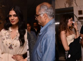 Bollywood movie Beyond the Clouds special screening held in Mumbai on April 18, 2018. From Left to right Malavika Mohanan, Boney Kapoor and Sridevi's daughter Khushi Kapoor graced the event. Check out the above slideshow to see the photos of celebs like Ishaan Khatter, Filmmaker Shashank Khaitan, Girish Kumar, Jhanvi Kapoor, R. Balki, Gauri Shinde, Rajesh Khattar, Ramesh Sippy, Kiran Juneja, Satish Kaushik and others who were also seen at the special screening.