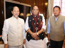Nagaland Chief Minister Neiphiu Rio called on the Union Home Minister Rajnath Singh here on Thursday and discussed issues related to development as well as support for improvement of police infrastructure in the state, an official statement said.