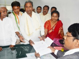 Karnataka Chief Minister Siddaramaiah on Friday filed his nomination to contest the ensuing state Legislative Assembly elections from Chamundeshwari constituency in Mysuru on Friday. Siddaramaiah, along with his son Yathindra, visited the Chamundeshwari temple in Mysuru to pray to goddess Durga before filing his nomination. The 69-year-old veteran leader contested from Chamundeshwari seat seven times since 1983 and won five times. He later shifted his constituency to Varuna in Mysuru district, from where he was elected twice since 2008, including the last assembly polls in 2013.