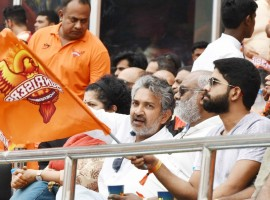 Filmmaker S. S. Rajamouli, his wife Rama Rajamouli and music director M. M. Keeravani during an IPL 2018 match between Chennai Super Kings and Sunrisers Hyderabad at Rajiv Gandhi International Cricket Stadium in Hyderabad on 22 April, 2018. However, Chennai Super Kings (CSK) pipped Sunrisers Hyderabad by four runs on Sunday to return to the top of the Indian Premier League (IPL) table.