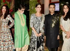Aishwarya Rai, Amitabh Bachchan, Sonam Kapoor, Sara Ali Khan, Karan Johar at Saudamini Mattu and Siddharth Bhandari wedding reception.