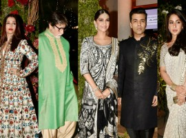 After Saudamini Mattu tied the knot with Delhi-based architect Siddharth Bhandari last week, the family hosted a grand reception in Juhu. From Left to right: Aishwarya Rai Bachchan, Amitabh Bachchan, Sonam Kapoor, Karan Johar and Sara Ali Khan attended the wedding reception ceremony. Check out the above slideshow to see the photos of celebs like Jaya Bhaduri Bachchan, Asha Parekh, Bhavna Pandey, Maheep Sandhu, Bhumi Pednekar, Dimple Kapadia, Kahkashan Patel, Neetu Singh, Pooja Deora, Aarti Shetty, Rakshanda Khan, Reema Jain, Romesh Sharma, Sujata Sharma, Sandeep Khosla, Abu Jani, Shrishti Behl, Sonali Bendre, Tabu, Shweta Bachchan-Nanda, Sikandar Kher, Sunita Kapoor, Twinkle Khanna and several other Bollywood celebrities attended the wedding reception.