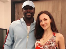 Bollywood film actress Elli AvrRam met internationally renowned singer Akon and says life is full of surprises. Elli on Monday tweeted a photograph of herself with Akon, who has sung numbers like