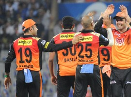 Sunrisers Hyderabad produced a superb bowling performance to outwit Mumbai Indians by 31 runs in a tricky low-scoring encounter here on Tuesday to condemn the defending champions to their fifth loss in six games in the Indian Premier League (IPL). On a day for bowlers, Mumbai bowled out Hyderabad for 118 in 18.4 overs but the hosts were then bundled out for 87 in 18.5 overs at the Wankhede. Hyderabad ended their two-match losing run and are third in the points table with eight points from six matches. Hyderabad bowlers hunted in pack, with medium pacer Siddharth Kaul picking three wickets, while leg-spinner Rashid Khan and pacer Basil Thampi picking took two wickets each. Sandeep Sharma, Mohammed Nabi and Shakib Al Hasan picked a wicket each.