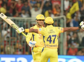 Mahendra Singh Dhoni (70 not out off 34 deliveries) and Ambati Rayudu's 53-ball 83 helped Chennai Super Kings (CSK) register a thumping five-wicket win over Royal Challengers Bangalore (RCB) here on Wednesday to return to the top spot of the Indian Premier League (IPL). Chasing a massive total of 206 runs, Dhoni was at his explosive best, blasting seven sixes as the visitors won with five wickets and two deliveries to spare clash at the M. Chinnaswamy Stadium. The veteran skipper was well supported by opener Rayudu, who slammed four boundaries and eight sixes as CSK took their points tally to 10, while RCB remained in the sixth spot with four points.