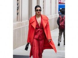 Bajirao Mastani actress stepped out onto the streets as she attended the Ciroc & Variety Women's Empowerment brunch in New York. The actress was looking hot in all-red attire. She paired the outfit with gold loop earrings and black sunglasses.