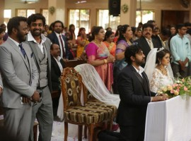 Sandalwood actor Chiranjeevi Sarja and Meghana Raj got hitched as per Christian tradition at Koramangala church in Bengaluru on Sunday. The couple have been romantically linked for over 10 years. The marriage of actor Chiranjeevi and Meghana was a private affair and it was attended by the couple family members and close friends. The couple will now host a grand Hindu wedding on 2 May at the Palace Grounds. They have planned for a grand wedding reception on May 2 which will be graced by the film industry. Check out more pictures from Chiranjeevi Sarja and Meghna Raj's church wedding right here.