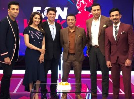 Madhuri Dixit celebrated her birthday at Star Sports Studios with Karan Johar and Star Sports Experts Sunil Gavaskar, VVS Laxman and Star Sports anchor Jatin Sapru. Madhuri ventured into Hindi cinema in 1984 with