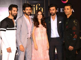 Actors Shahid Kapoor, Kartik Aaryan, Dia Mirza, Ranbir Kapoor and filmmaker Karan Johar during a press conference of the 19th Edition of IIFA Weekend and Awards 2018 in New Delhi on May 17, 2018. The International Indian Film and Academy (IIFA) Weekend and Awards will next month return to Bangkok after a decade for its 19th edition, which promises not just Bollywood's glitz and glamour but support to environmental causes and cinema memorabilia too. The gala will be held June 22-24 at the Siam Niramit Theatre, which is adorned by Thailand's heritage, art and culture and hosts the country's most-popular theatre production. The main awards gala on the last day will be hosted by the inimitable Riteish Deshmukh and Karan Johar, both known for their quick wit. Among the performers will be stars like Ranbir Kapoor and Shahid Kapoor.