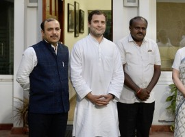 JD-S leader and Karnataka Chief Minister-designate H.D. Kumaraswamy on Monday met Congress President Rahul Gandhi and UPA Chairperson Sonia Gandhi to discuss ministerial berth sharing between the coalition partners ahead of his swearing-in ceremony on Wednesday. The details of the meeting were not divulged but the sources said the Congress demanded two posts for Deputy Chief Ministers -- one for a Dalit and the other for a Lingayat, 12 for ministers and one for the Speaker. However, Kumaraswamy said the matter will be finalised when the two sides sit together on Tuesday in Bengaluru. The Congress has authorised its General Secretary incharge of Karnataka K.C. Venugopal to discuss the matter with local Congress leadership, including former Chief Minister Siddaramaiah. He will also discuss the issue with the Janata Dal-Secular (JD-S) leadership.