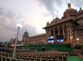 Preparations for swearing in ceremony of Karnataka Chief Minister-designate H. D. Kumaraswamy underway at Vidhan Soudha in Bengaluru. Governor Vajubjai Vala invited the 58-year-old JD-S legislative party leader on Saturday to form the coalition government after the fall of the three-day BJP government led by Chief Minister B.S. Yeddyurappa, who resigned even before the trust vote was conducted since his party was seven MLAs short of the halfway mark to prove simple majority in a house of 222 members. The Janata Dal-Secular (JD-S) leader HD Kumaraswamy will take oath at 4.30 p.m. on Wednesday in front of the Secretariat (Vidhan Soudha) in the presence of Sonia Gandhi, Rahul Gandhi, and Delhi and Kerala Chief Ministers Arvind Kejriwal and Pinarayi Vijayan respectively.