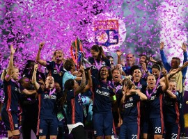 Lyon defeated Wolfsburg 4-1 here to win a third consecutive UEFA Women's Champions League title and their fifth overall, a new record for the competition. The 90 minutes of regulation time between the two powerhouses of women's club football in Europe -- this was the third time they played each other in the final -- offered little in the way of excitement on Thursday, reports Efe. Both of their previous meetings were tight. Wolfsburg won 1-0 in the 2013 final, while Lyon prevailed on penalties in 2016, so nobody was surprised when the match went into extra time. What was a pleasant surprise for the fans at Kiev's Valeriy Lobanovskyi Stadium was the ensuing offensive explosion. After emphasising defence in regulation, Wolfsburg shifted gears to take a 1-0 lead with Pernille Harder's goal in the 93rd. But the German side's euphoria was short-lived, as they found themselves down to 10 players after Alexandra Popp was sent off for a second yellow card. Amandine Henry equalised for Lyon in the 98th minute and the French club pulled ahead a minute later on a goal by Eugenie Le Sommer, assisted by late sub Shanice van de Sanden, who also contributed to Ada Hegerberg's strike in the 103rd minute to put the side up 3-1. Camille Abily, playing in her record 81st Champions League match, added a fourth goal in the 116th minute. Hegerberg also made history, setting a new mark for the most goals in a Women's Champions League campaign with 15 goals.