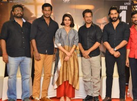 Telugu movie Abhimanyudu Press Meet event held at Hyderabad. Celebs like Vishal, Arjun, Samantha Ruth Prabhu, director PS Mithran, Hari Gujjalapudi, Ramana and others graced at the event. Abhimanyudu is an upcoming Telugu action thriller film, directed by debutant PS Mithran and produced by Vishal under the Vishal Film Factory banner. Starring Vishal, Samantha and Arjun in the lead role, while Delhi Ganesh, Sreeja Ravi, Robo Shankar, Kavithalaya Krishnan, Vincent Asokan, Kaali Venkat, Madhusudhan Rao,  Mahanadi Shankar, Vivek Prasanna appears in the supporting role. The film's soundtrack album and background score were composed by Yuvan Shankar Raja. The film is scheduled for a worldwide release on June 1, 2018.