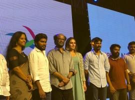 Telugu movie Kaala pre-release event held at Hyderabad on June 4, 2018. Celebs like Rajinikanth, Dhanush, Pa Ranjith, Huma Qureshi, Easwari Rao, Santhosh Narayanan, Dil Raju, BVSN Prasad, AM Rathnam, Tagore Madhu, Meenakshi Iyer, Ayngaran Karunamoorthy and others graced the event. The film is set to hit the screens on June 7, 2018 and the stars are promoting it in a full swing.