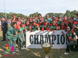 Six-time defending champions India suffered a three-wicket defeat against Bangladesh in the final of the Women's Asia Cup Twenty20 cricket tournament at the Kinrara Academy Oval here on Sunday. After India scored 112/9, thanks to Harmanpreet Singh's 56, Bangladesh managed to get over the line in the final ball of their innings. Bangladesh were in control for the major part of the match. Even after Nigar Sultana (27 off 24) got out in the second ball of the 16th over, when Bangladesh were 83/4, Rumana Ahmed (23 off 22) did well to bring down the required runs to 13 off the last two overs. In the penultimate over, Deepti Sharma gave away only four runs, keeping India in the match. In the first three deliveries of the final over, delivered by Harmanpreet, Bangladesh got six runs, including a boundary from Rumana. Harmanpreet made it a pulsating affair by removing Sanjida Islam (7) and Rumana -- a victim of run out, in the fourth and fifth deliveries. Rumana was stopped from reaching for her second run in the penultimate delivery, meaning Bangladesh needed two runs from the last ball. Jahanara Alam scampered for two runs off the final ball to seal Bangladesh's first title in the continental championship which had seen India winning every title since its inception in 2004. Bangladesh had earlier in the week defeated India by seven wickets -- which was their first win over the sub-continental giants in any format. In the final, having elected to field, Bangladeshi bowlers justified their captain Salma Khatun's decision as they reduced India to 32/4 in the first nine overs. Salma effected a run out of opener Smriti Mandhana (7) in the first delivery of the fourth over before right-arm medium pacer Jahanara Alam rattled the stumps of Deepti Sharma (4) in the seventh over.