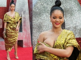 Singer Rihanna flaunts her curves at Ocean's 8 premiere in London's Leicester Square for the debut movie. The SOS singer snapped in a golden metallic outfit with an off-the-bear design that displayed her intricate tattoos.