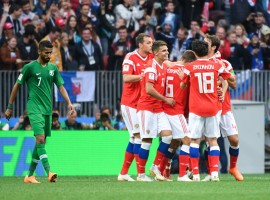 Hosts Russia began their FIFA World Cup campaign in emphatic fashion, registering an easy 5-0 victory over minnows Saudi Arabia in a Group A game at the 81,000-seater Luzhniki Stadium here on Thursday. Yuri Gazinskiy (12th minute), Denis Cheryshev (43rd, 90+1), Artem Dzyuba (71st) and Aleksandr Golovin (90+4) scored for the hosts, who enjoyed a near-perfect first day. They overcame the injury suffered by forward Alan Dzagoev in the middle of the first half. But his substitute Cheryshev scored a brace and young Golovin made two assists and a goal to more than make up for Dzagoev's absence. Russia were impressive from the beginning and threatened the Saudis with fierce counter-attacks. Russia employed pressure by earning multiple corners and after one of them was blocked, Russia regained the ball. Aleksandr Golovin fired in a beautiful cross from right to the centre of the box from where Yuri Gazinskiy headed it in at the left post past Abdullah Mayoof to make it 1-0.