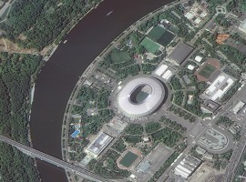 A picture taken from the International Space Station (ISS) and released by the Russian space agency Roscosmos on May 31, 2018, shows the Luzhniki Stadium, which will host matches of the 2018 FIFA World Cup in Moscow, Russia. Picture released May 31, 2018.