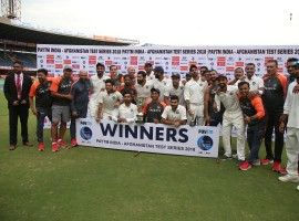 India took full advantage of Afghanistan's inexperience in red ball cricket, dismissing them twice on the second day to romp home by an innings and 262 runs in the one-off Test at the M.Chinnaswamy Stadium here on Friday. India lived up to their billing as the No.1 ranked Test side, by riding on a collective team effort that saw them posting a commanding 474 in their first innings before the bowlers joined the party to dismiss the rookie visitors twice in two consecutive sessions. After being bowled out for a paltry 109 in the first innings, the visitors were once again skittled out in a single session for 103 in their second essay. Left-hander Hashmatullah Shahidi (36 not out) waged a lone battle, showing great resilience against a disciplined Indian bowling unit but failed to find support from the other batsmen who still seem to be in the T20 mould. Left-arm spinner Ravindra Jadeja (4/17) and pacer Umesh Yadav (3/26) were the wreckers-in-chief in the second innings as the duo exposed the inexperienced Afghan line-up not once but twice in the same day.