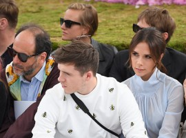 Fashion designer Victoria Beckham attended the Paris Fashion Week with eldest son Brooklyn Beckham on Saturday, days after she squashed speculation about a divorce from husband David Beckham.