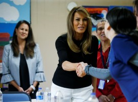 U.S. first lady Melania Trump greets attendees at a roundtable discussion as she arrives to tour the Southwest Key Programs Campbell immigration detention facility for children run by the U.S. Department of Health and Human Services in Phoenix, Arizona, U.S.