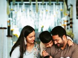 Jr NTR shared a lovely picture with his wife Lakshmi Pranati, son Abhay Ram and the new-born Bhargava Ram on his newly opened Instagram account. He wrote,