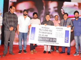 Telugu movie Tej 'I Love You' press meet event held last night in Hyderabad. Celebs like Sai Dharam Tej, Allu Aravind, Karunakaran, Aswani Dutt‎, KS Rama Rao, V Chamundeswaranath, Simha and others graced the event. I Love You is an upcoming romantic film directed by A Karunakaran and produced by KS Rama Rao under the Creative Commercials banner. The film's soundtrack album and background score composed by Gopi Sundar, which is scheduled for a worldwide release on 6 July 2018.