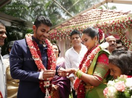 Dr. Rajkumar grandson, Raghavendra Rajkumar's younger son Yuva Rajkumar engaged to his long time girlfriend Shridevi Byrappa at a private hotel on Thursday (05 July) in Mysuru. Celebs like Hatrick hero Shivraj Kumar and his wife Geetha Shivaraj Kumar, Puneeth Rajkumar and his wife Ashwini Revanath, Vinay Rajkumar, Srimurali and his wife Vidya, Ambareesh and his wife Sumalatha, Rockline Venkatesh, family members and friends attend the event.