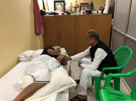 Senior Congress leader Ashok Gehlot on Thursday visited ailing Rashtriya Janta Dal (RJD) leader Lalu Prasad at his residence in Patna. Lalu, who was out of parole in May to attend his elder son Tej Pratap's wedding, is on a six-week bail on health grounds. He is suffering from a heart condition, for which he was recently admitted to New Delhi's All India Institute of Medical Sciences. Following his meeting with Lalu Prasad, Gehlot tweeted a picture with him, saying: