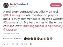 Master blaster Sachin Tendulkar gave a thumbs up to Diljit Dosanjh's upcoming flick, 'Soorma' after attending the screening of the film. 'Soorma' is based on the life of legendary hockey player Sandeep Singh. Taking to his Twitter, Tendulkar stated that the movie is a must watch as he praised the inspiring story.