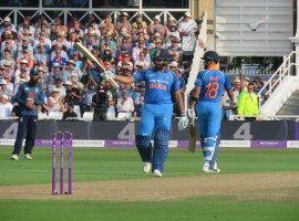 A maiden fifer for Kuldeep Yadav (6/25) followed by Rohit Sharma's unbeaten 137-run knock sealed a comfortable eight-wicket victory for India in the first match of the three-match One-Day International (ODI) rubber at Tent Bridge here on Thursday. The visitors dominated England, the No. 1 ODI side, in all departments of the game as the men in blue took a 1-0 lead in the series with 59 balls to spare. It was Kuldeep's magnificent bowling display before which the English batting line-up succumbed and later, Rohit and skipper Virat Kohli (75) helped India overcome the 269-run target with ease. Chasing 269 for victory, openers Shikhar Dhawan and Rohit started the proceedings cautiously as they took India past the 50-run mark in just 6.5 overs when the centurion lofted the ball in the air over mid-off to clean the stands. Dhawan fell early becoming a victim of Moeen Ali in the eighth over leaving India at 59/1.