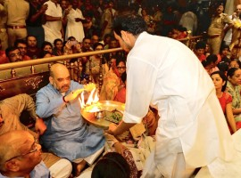 Bharatiya Janata Party (BJP) president Amit Shah attended 'Mangal Arti' at Jagannath temple here on Saturday early morning. Shah, who is in Gujarat for a one-day visit will also take part in various events in the vicinity of the city. Later, he is scheduled to address a youth parliament in a university in Gandhinagar.