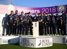 England put up a strong all-round show to thump an underwhelming India by eight wickets in the series-deciding third and final One-day International (ODI) at the Headingley cricket ground here on Tuesday. Leg-spinner Adil Rashid's triple strikes in the middle overs helped England restrict India for a below par 256/8, despite captain Virat Kohli playing a 71-run knock. Then India's bowlers could not respond to brilliant batting from Joe Root (100 not out) and Eoin Morgan (88 not out), who shared an 186-run stand for the third wicket as the hosts cantered to a big win, with 5.3 overs to spare. It was England's second consecutive win as they bounced back strongly after the first ODI loss in Nottingham before they produced a handsome win at the Lord's.