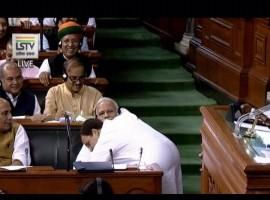 Rahul Gandhi hugs Modi