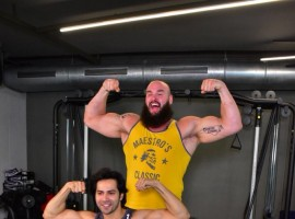 Varun Dhawan flexes with WWE Superstar Braun Strowman