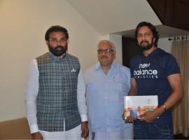 Sampark se Samarthan: B Sriramulu meets Kiccha Sudeep.