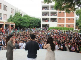 Aayush Sharma and Warina Hussain visit ITM college
