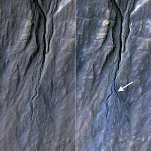 NASA's Spacecraft Finds New Gully on Mars; Not Present Three-Years-Ago