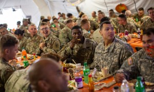 U.S. Soldiers At Mexican Border Celebrate Thanksgiving