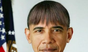 U.S. President Barack Obama makes light of his wife's new bangs with a mock picture of himself with the same hairdo in this humorous photo created by the White House shown at the annual White House Correspondents' Association dinner in Washington on April 27, 2013. Obama poked fun at the media, his critics and himself on Saturday at the annual White House Correspondents' Association dinner, a star-filled event where journalists and celebrities mixed with the Washington elite.