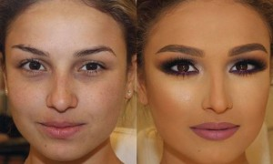 Here is a beautiful bridal makeover. It's her special day, and she just wanted to be immaculate. The makeup gave her a bronze complexion and a smoky purple eye along with a beautiful mauve lip.