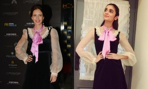 During the premiere of XXX: Return of Xander Cage in 2017,  Kalki Koechlin chose a Victorian-inspired black and white velvet Gucci dress with a pink tie. However, much before Kalki's appearance in Gucci, Alia Bhatt was pictured in the same outfit. When Alia opted black strappy heels, Kalki wore a pair of black pumps