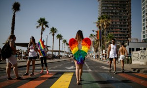 Revellers take part in a gay pride parade in Tel Aviv, Israel.