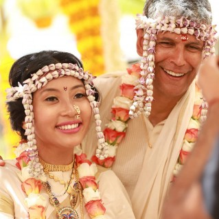 The 52-yr-old actor-model Ankita Konwar and Milind Soman took their wedding vows in the presence of their friends and family on April 22 in Alibaug. Their friends shared several pics from the wedding on social media. Check out these pics from their wedding ceremony.