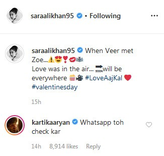 Kartik Aaryan's comment on Sara Ali Khan's picture
