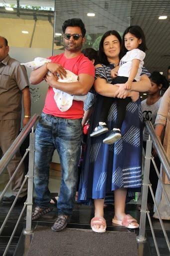 Sachiin Joshi and Urvashi Sharma with their new born baby and daughter