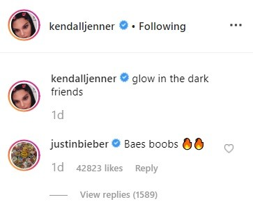 Justin Bieber's comment on Kendall's post